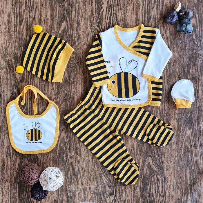 Set nou nascuti 5 piese bluzita, pantaloni, caciulita, bavetica si manusi albinuta bumbac 0