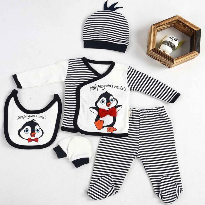 Set nou nascuti 5 piese bluzita, pantaloni, caciulita, bavetica si manusi pinguin bumbac 0