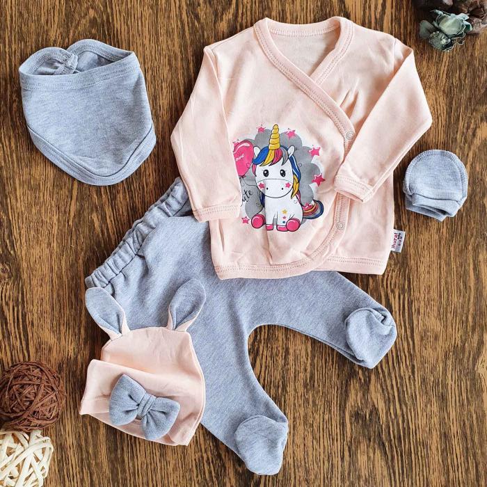 Set nou nascuti 5 piese bluzita, pantaloni, caciulita, bavetica si manusi unicorn bumbac 0