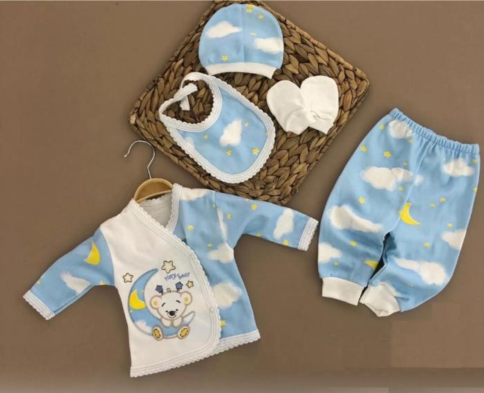 Set nou nascuti 5 piese bluzita, pantaloni, manusi, caciulita si bavetica bumbac bleu [0]