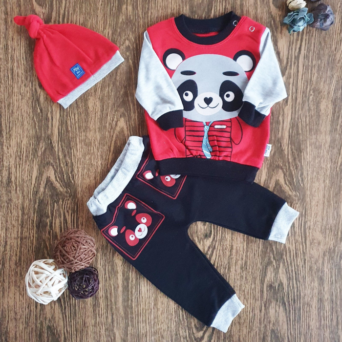 Set trening bebe bluza, pantaloni si caciulita rosu cu negru bumbac panda 6-24 luni 0