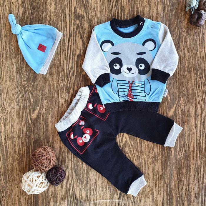 Set trening bebelusi si caciulita bleu urs panda bumbac 6-24 luni 0