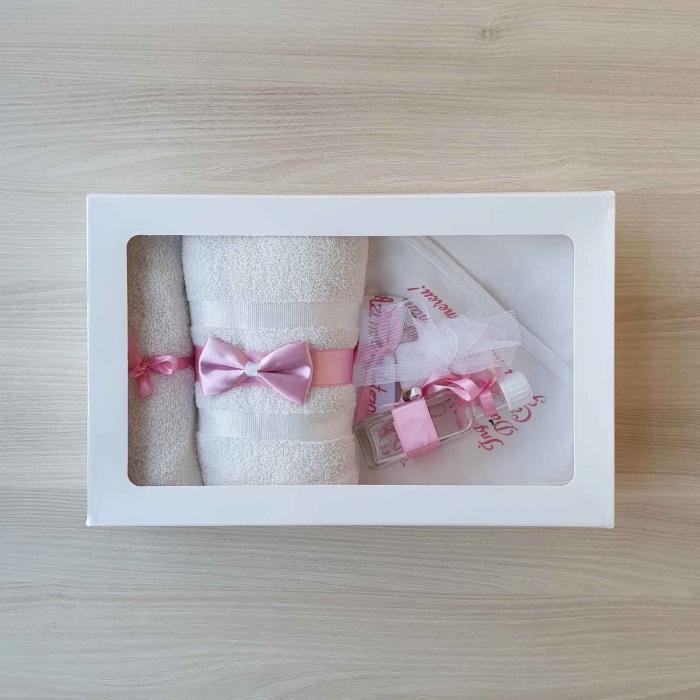 Trusou botez alb cu roz ingeras [0]