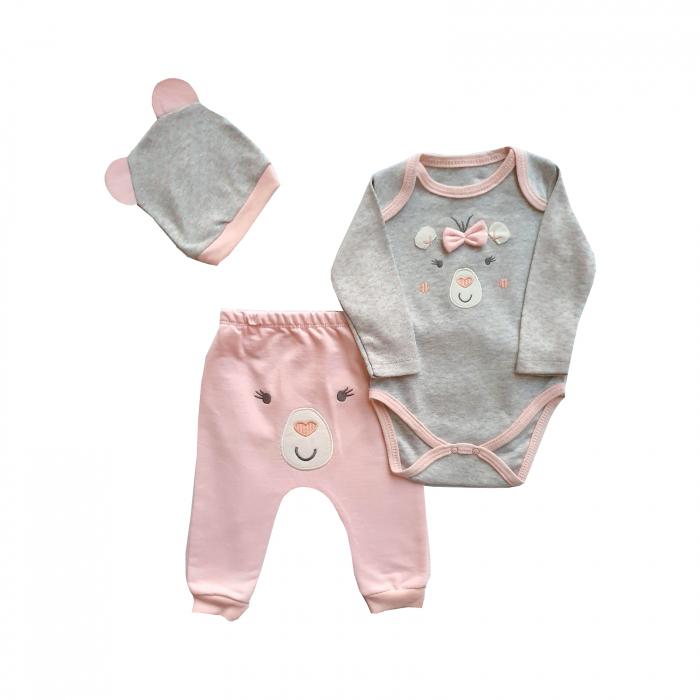 Set body, pantaloni si caciulita roz cu gri 0