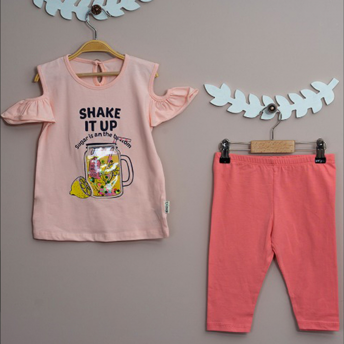 Compleu fetita pantaloni scurti roz si tricou limonada bumbac 2-3 ani [0]
