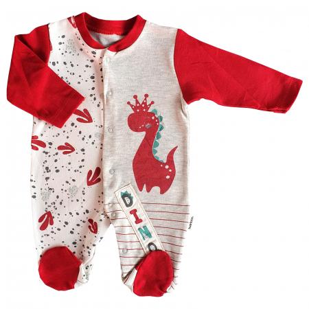 Salopeta bebe rosie dragon cu coronita0