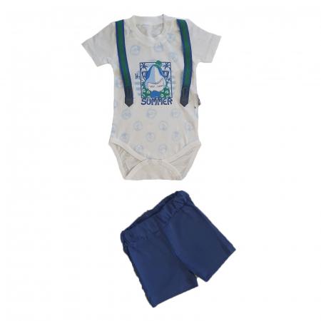 Compleu bebelusi body maneca scurta rechin si pantaloni scurti albastri bumbac 0-9 luni