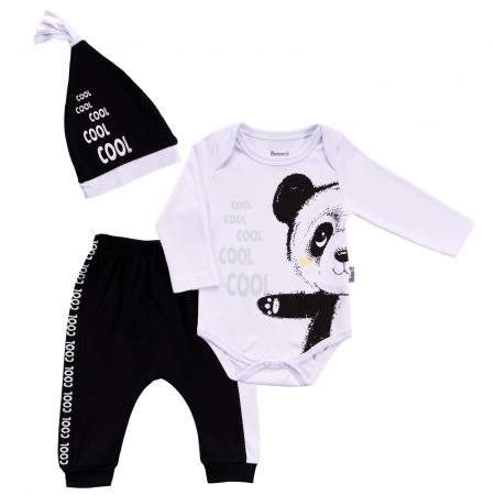 Body alb panda cu caciulita