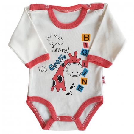 Body  bebelusi fetita girafa roz bumbac 0-9 luni