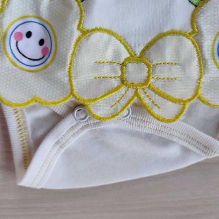 Body bebelusi maiou cu fustita din bumbac alb cu galben 0-9 luni [1]