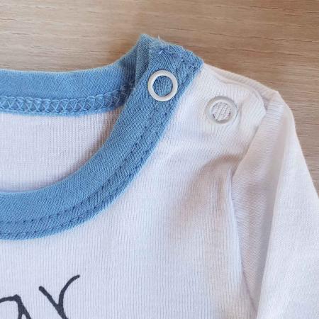 Body bebelusi maneca lunga steluta albastra bumbac 0-12 luni1