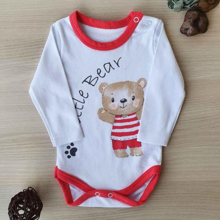 Body bebelusi maneca lunga little bear rosu bumbac 0-12 luni0