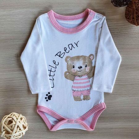 Body bebelusi maneca lunga little bear roz bumbac 0-12 luni0