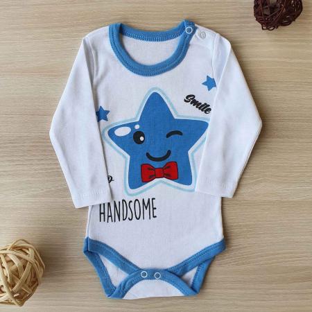 Body bebelusi maneca lunga steluta albastra bumbac 0-12 luni0