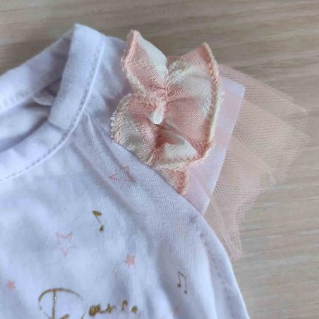 Body bebelusi maneca scurta cu tiul roz balerina bumbac 0-9 luni [1]