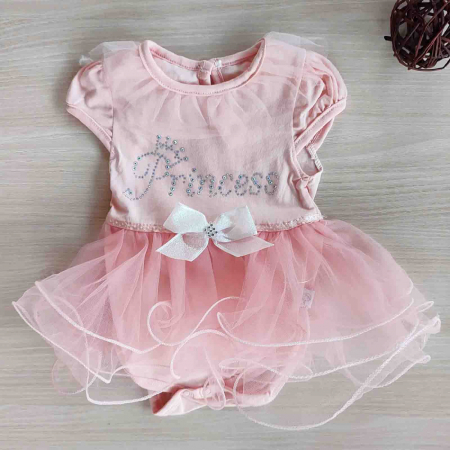 Body bebelusi maneca scurta cu tiul roz princess bumbac 0-9 luni [0]