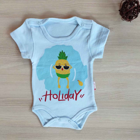 Body bebelusi maneca scurta holiday bleu bumbac 0-12 luni [0]