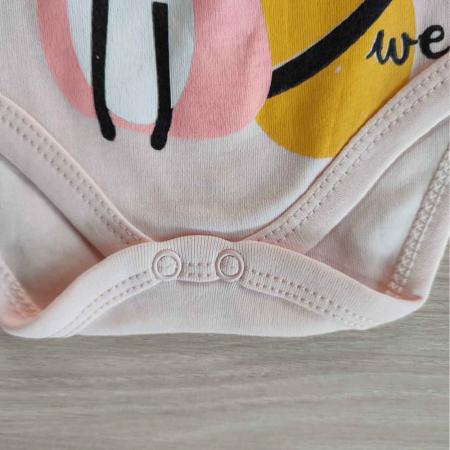 Body bebelusi maneca scurta pisicuta roz bumbac 0-12 luni [2]