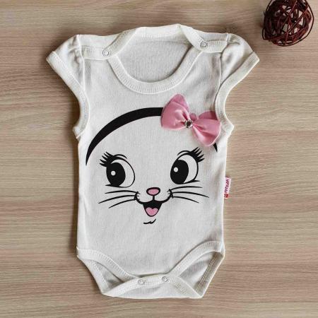 Body bebelusi pisicuta cu fundita alb bumbac 0-12 luni [0]