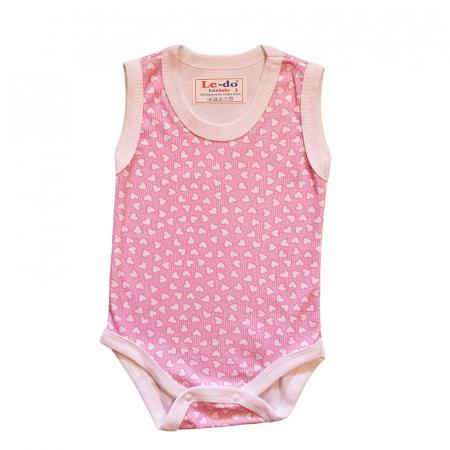 Body maiou bebelusi inimioare roz bumbac 3-6 luni