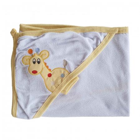 Prosop de baie bebelusi alb cu bej girafa bumbac