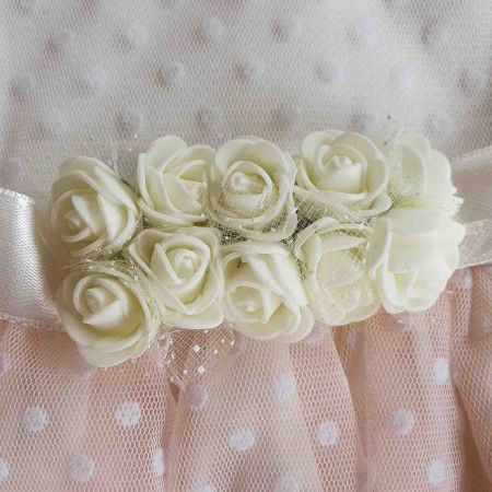 Rochita bebelusi maneca scurta cu tiul roz deschis si floricele 6-18 luni [1]