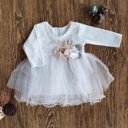 Rochita cu maneca lunga si tiul printesa alb cu jupa din bumbac si flori 1-3 ani0