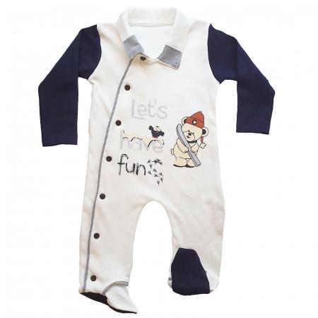 Salopeta bebe alb-negru0