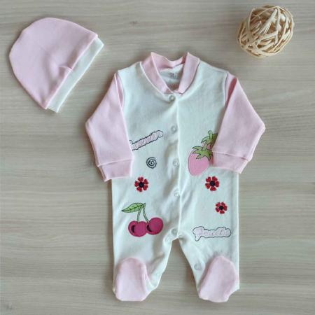 Salopeta bebelusi maneca lunga fructe roz bumbac 0-3 luni [0]