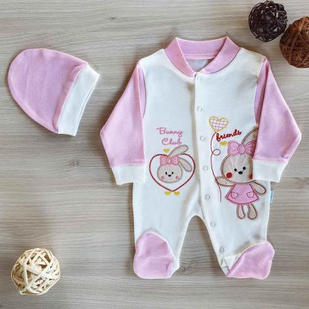 Salopeta bebelusi maneca lunga iepuras roz bumbac 0-9 luni0