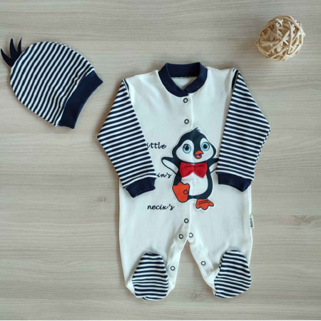 Salopeta bebelusi maneca lunga pinguin bumbac 0-9 luni [0]