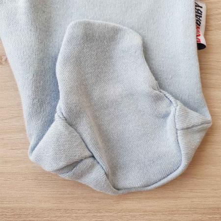 Salopeta bebelusi maneca lunga si caciuita magarus bleu bumbac 0-9 luni2