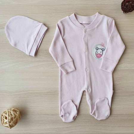 Salopeta bebelusi maneca lunga si caciuita magarus roz bumbac 0-9 luni0