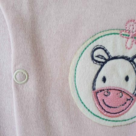 Salopeta bebelusi maneca lunga si caciuita magarus roz bumbac 0-9 luni1