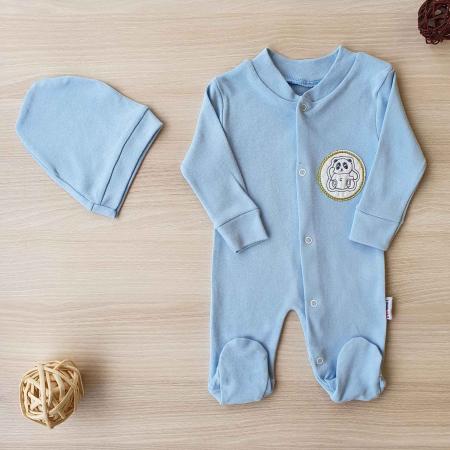 Salopeta bebelusi maneca lunga si caciuita ursulet panda bleu bumbac 0-9 luni0