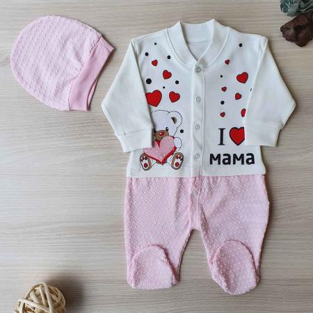Salopeta bebelusi maneca lunga ursulet i love mama roz bumbac 0-6 luni0