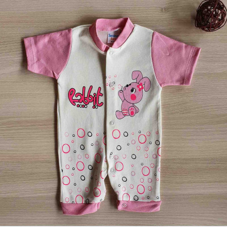 Salopeta bebelusi maneca scurta iepuras roz bumbac 0-9 luni [0]