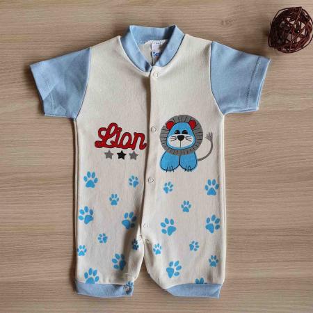 Salopeta bebelusi maneca scurta leu bleu bumbac 0-9 luni [0]