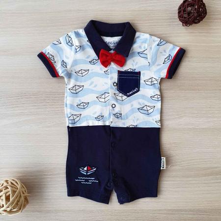 Salopeta bebelusi maneca scurta si pantaloni scurti barcute si papion bumbac 0-9 luni [0]