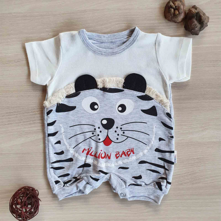 Salopeta bebelusi maneca scurta tigru gri bumbac 0-9 luni [0]