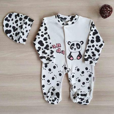 Salopeta bebelusi urs panda bumbac 0-9 luni