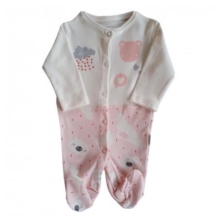 Salopeta bebe nori si ploaie roz bumbac