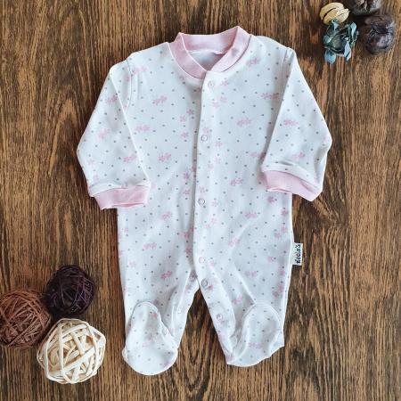 Salopeta nou nascut fetita roz flori bumbac