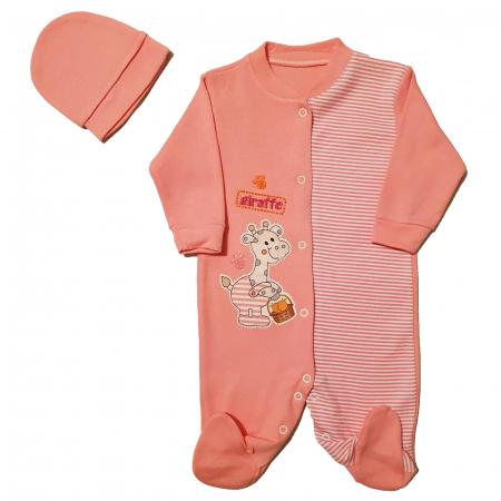Salopeta roz dungi si girafa si caciulita 3-6 luni