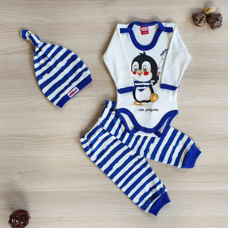 Set bebelusi body maneca lunga, pantaloni lungi si caciulita pinguin albastru bumbac 0-9 luni [0]
