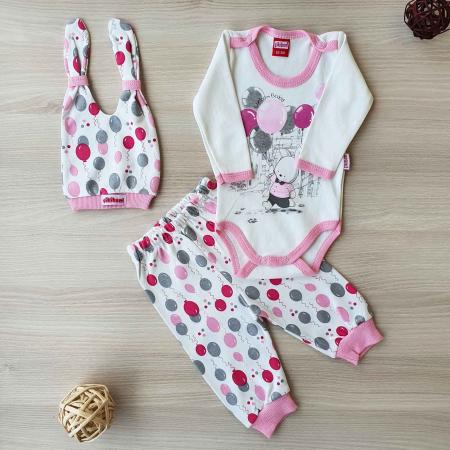Set bebelusi body, pantaloni si caciulita iepuras roz bumbac 0-9 luni [0]
