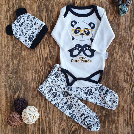 Set bebelusi body, pantaloni si caciulita panda cu ochelari galbeni alb negru bumbac 0-6 luni