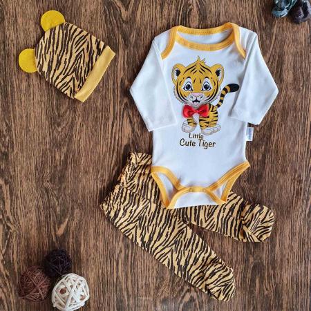 Set bebelusi body, pantaloni si caciulita tigru bumbac 0-6 luni