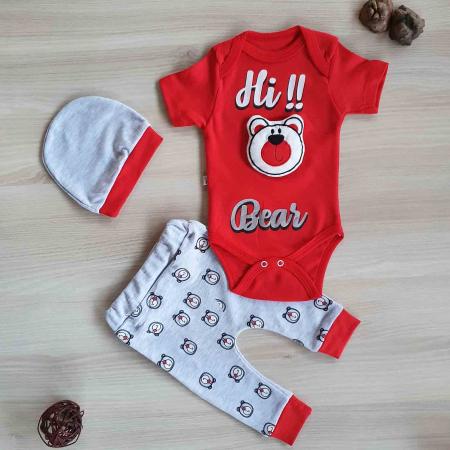 Set bebelusi body, pantaloni si caciulita ursulet 3D rosu bumbac 0-9 luni [0]