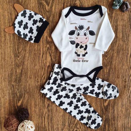 Set bebelusi body, pantaloni si caciulita vacuta alb negru bumbac 0-6 luni